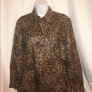 Chico's Sequin Animal Print Jacket SZ 1 (8)